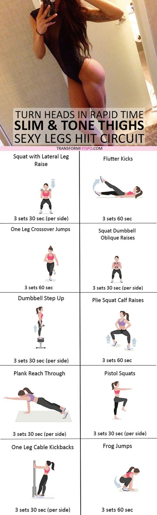 #womensworkout #workout #femalefitness Repin and share if this workout gave you slim and toned thighs! Click the pin for the full workout.