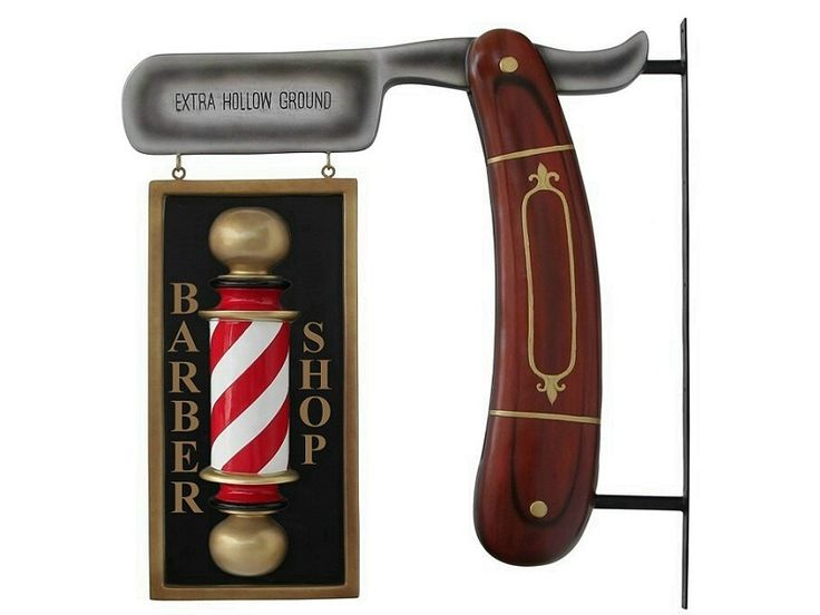 Vintage Brown Wood Shaving Blade & Double Sided Embossed Barber Pole Advertising Board