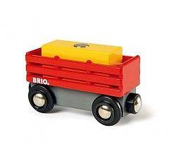 Brio treinen 33565 Hooiwagon De dieren op de boerderij hebben vers hooi nodig.  Vervoer daarom de hooi baal met deze wagon naar ze toe! Koppel de wagon eenvoudig weg achter iedere Brio locomotief naar jouw keuze.  Inclusief 1 magnetische lading van hooi. http://www.brio-trein.nl/brio-treinen-33565-hooiwagon.html