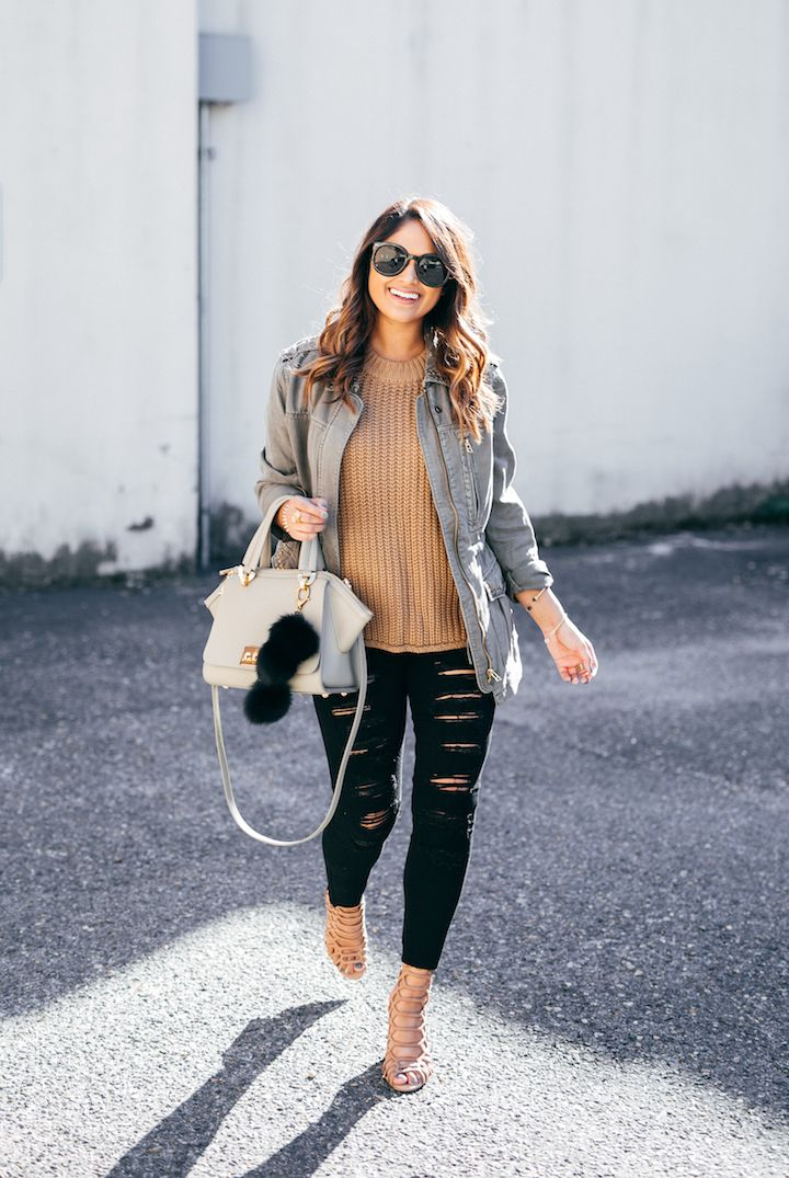 haute off the rack, distressed jeans, ripped jeans, black jeans, fall outfit, camel colored sweater, Zac Zac Posen handbag, faux fur bag charms, Steve Madden Skales Heels, nude heels, two ways to wear a military style jacket, Sanctuary Military Jacket, women's fashion, fall fashion