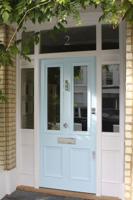 Idea for front door. Panneled to waist height. Clear glass not a good idea? light blue Victorian front door in south London