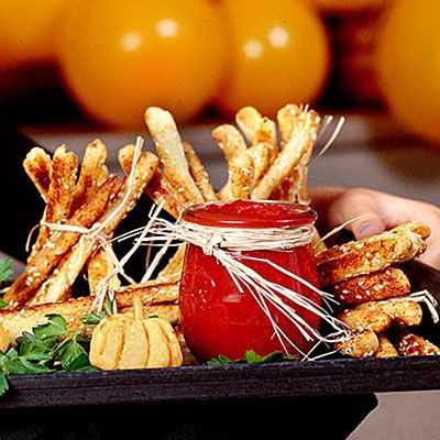 Breadstick Haystacks Recipe < 15 Halloween Party Appetizers and Drink Recipes - Southern Living