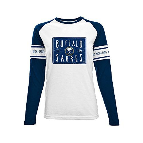 NHL Buffalo Sabres Ladies Box Score Long sleeve Tee, Small, White/Solid Navy