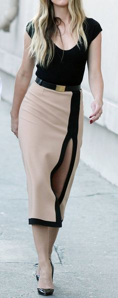 black and beige dress