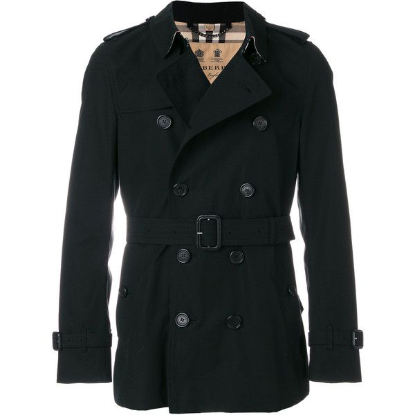 Burberry short Sandringham trench coat (3,150 CAD) ❤ liked on Polyvore featuring men's fashion, men's clothing, men's outerwear, men's coats, black, mens short trench coat, burberry mens coat, mens double breasted trench coat, mens double breasted coat and mens trench coat