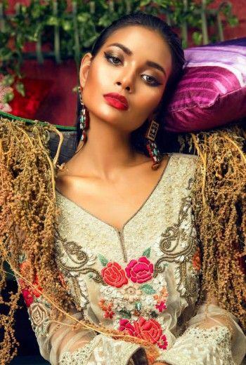 pakistani dresses online in usa   Light Golden Crinkle Chiffon A-Line Party Dress