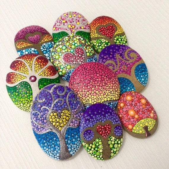 Tree Of Life Dot Art Painted Stone Painted Rock Fairy
