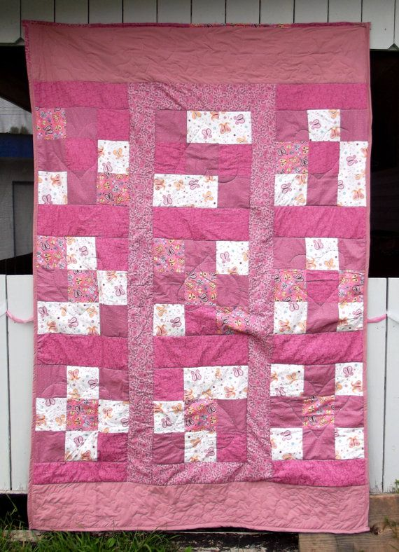 Pink butterfly girls quilt by CreativeJCrafts on Etsy, $200.00