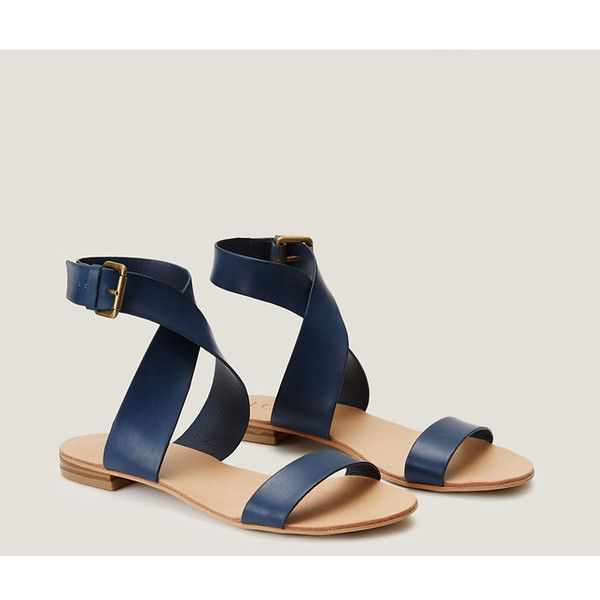 LOFT Crossover Flat Sandals ($40) ❤ liked on Polyvore featuring shoes, sandals, fresh navy, navy blue shoes, flat pumps, navy blue sandals, loft shoes and navy sandals