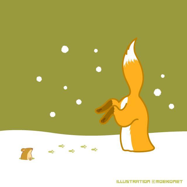 狐 雪 狩り fox snow hunting