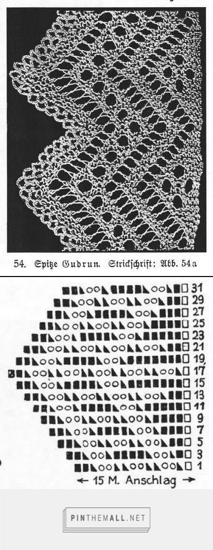 "A pinner says, """"Spitze Gudrun"" from an antique lace knitting book by Marie Niedner. Note the crochet finishing visible in the photo (plate). Odd rows (right side) charted, all even rows (wrong side) knit across."