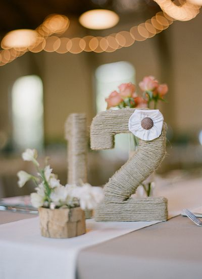 twine wrapped table numbers | Melissa Schollaert #wedding
