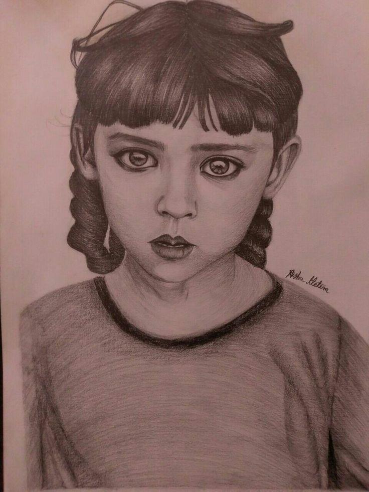 هذا رسمي بالرصاص لصورة طفلة من العراق