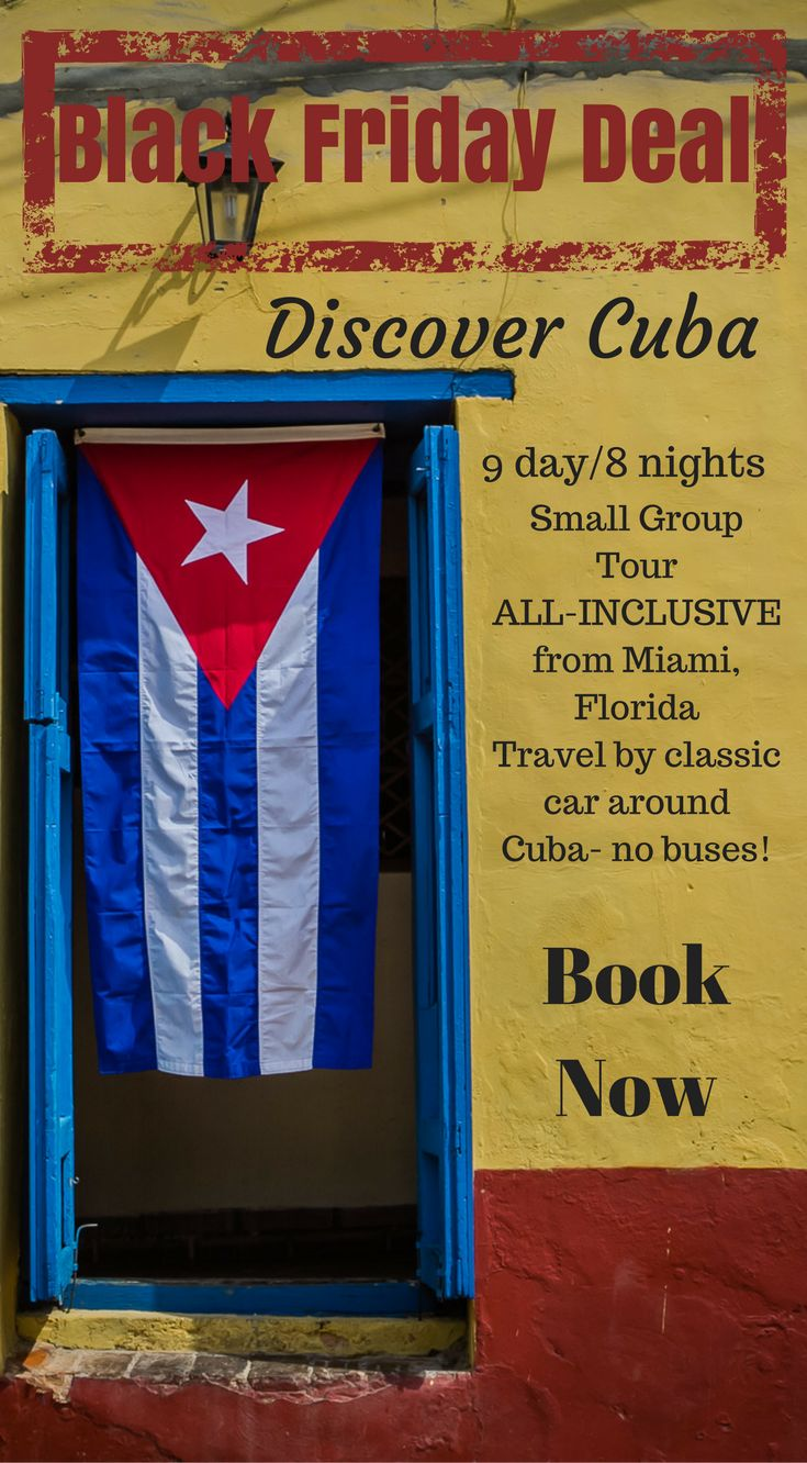Black Friday Holiday Vacation Deal. 9 day/8 night Cuba Photography Tour includes arrival and departure Small Group Photography Tour ALL-INCLUSIVE from Miami, Florida Travel by classic car around Cuba- no buses! Enter the code BLACK FRIDAY at checkout. Click now http://www.divergenttravelers.com/travel-photography-tours/cuba-photo-tour/