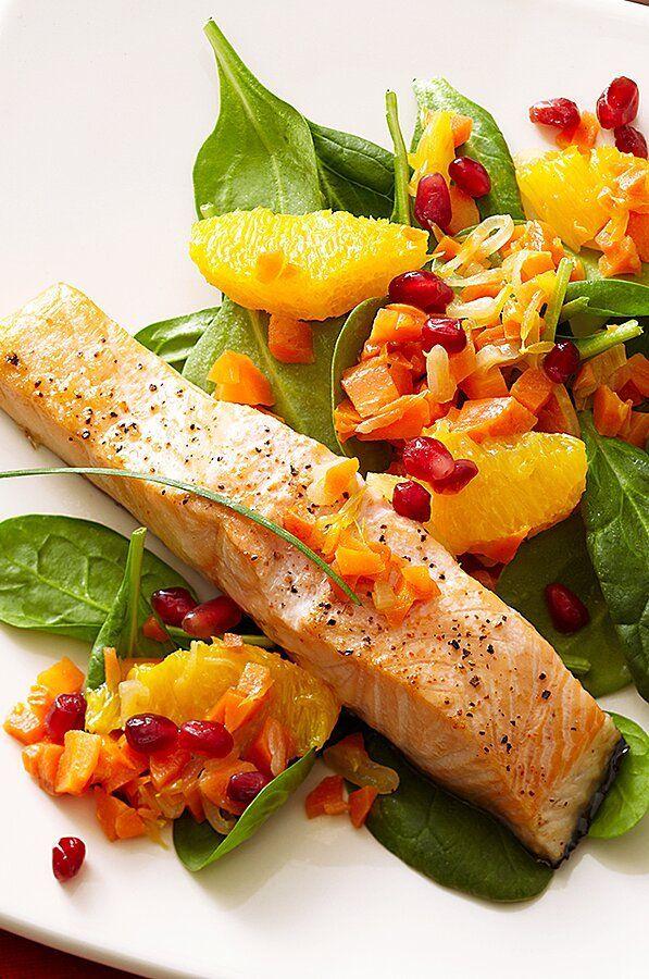 Salmon With Pomegranate Orange Relish Recipe In 2020 Mediterranean Recipes Salmon Dishes Easy Mediterranean Recipes