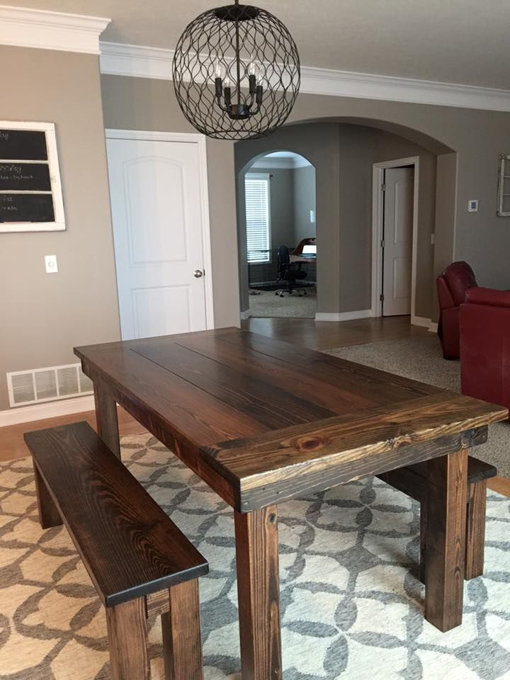 Table With A Traditional Top Endcaps And All Stained In Dark Walnut Pictured Matching Farmhouse Bench Gray White Rug Dining Room Chicken