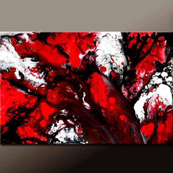 Abstrakte Kunst Gemälde 36 x 24 rot Original von wostudios auf Etsy