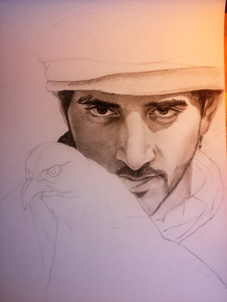 Crown Prince of Dubai ,art,charcoal