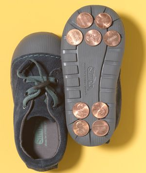 Penny as Tap Shoes-- fun idea for kids. old shoes + glue + pennies.