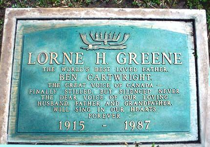 Lorne Greene's Grave (photo)  Hillside Cemetery , Clover City , Ca.