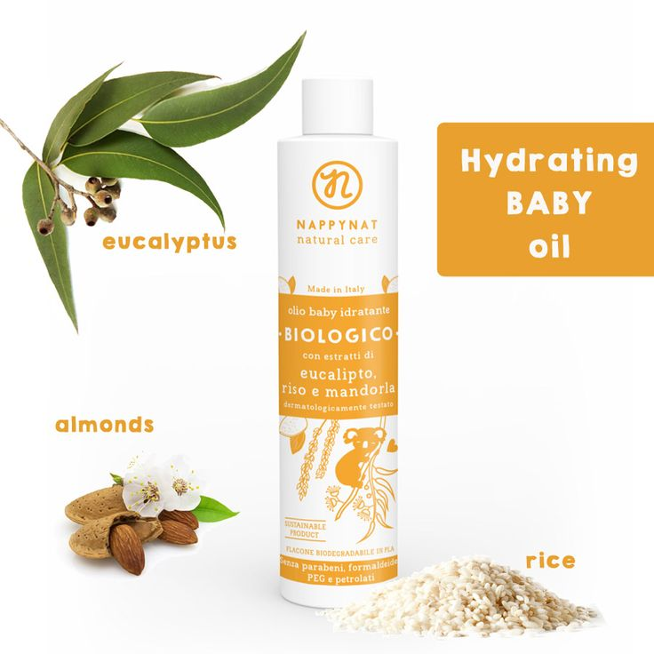 """Sensitive #skin? Just try Nappynat """"Hydrating Baby Oil"""" made of #organic eucalyptus, almond and rice.  Ideal for your #baby's delicate skin #wellness #mommyandbaby"""