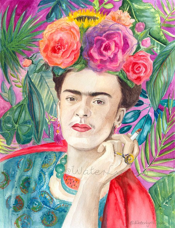 FRIDA KAHLO with cigarette // Original watercolor painting