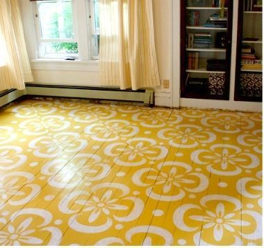 Amazing floral stencil painted floor. #projectnursery #honest #pinparty #bloom: Color, Paintings Woods Floors, Hardwood Floors, Floordesign, Floors Stencil, Floors Design, Stencil Floors, Porches, Paintings Floors