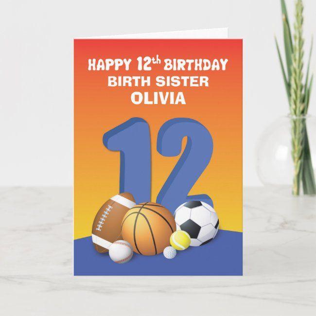 Custom Name And Relation Girl 2nd Birthday Sports Card Zazzle Com Birthday Cards For Boys Girl 2nd Birthday 1st Boy Birthday