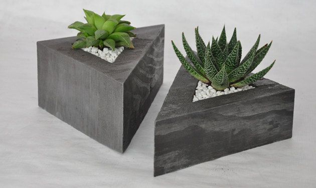 #concrete #triangle #planter #pot  perfect for #succulents #modern Get yours here: http://moderngarden.co/Concrete%20Triangle%20Planter.php
