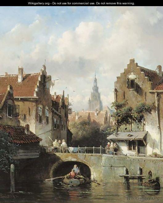 View of a canal in a Dutch town - Charles Henri Leickert