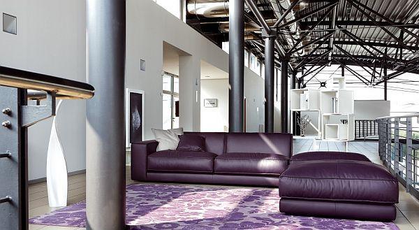 Big Purple Leather Sofa by Ditre Italia