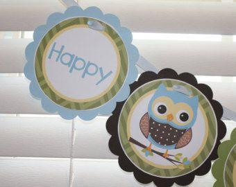 Búho cumpleaños Banner Banner fiesta buho buho por AWhimsyPartyShop