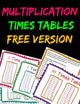 These are times tables for use on a wall, or you can use them to create a small booklet, or they can be printed out and laminated for portable use. This Product includes the following: 1 times table 2 times table 8 times table 10 times table Check out full product: Multiplication Times Tables Wall Cards/Posters/Small Booklet ***************************************************************************...