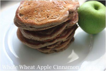 Whole Wheat Apple Cinnamon PancakesBreakfast Ideas, Applecinnamon Pancakes, Wheat Apples Cinnamon, Saving Recipe, Wheat Applecinnamon, Breakfast Food, Whole Wheat Pancakes, Breakfast Recipe, Apples Cinnamon Pancakes
