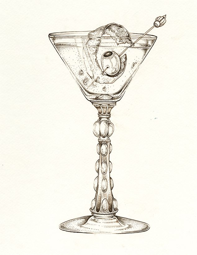"""Spicy Dirty Martini """"Dirty Thang"""" Art by: Ellie Lukova Ink drawing of a cocktail glass and fruit garnish www.ellielukova.com https://www.facebook.com/ellie.lukova/"""