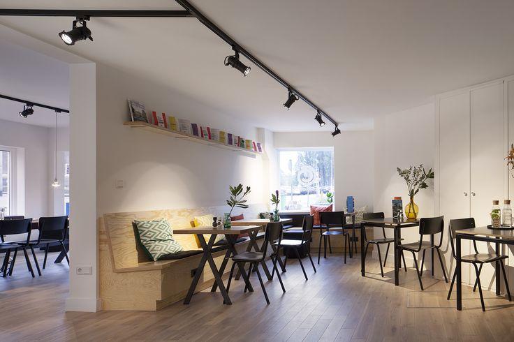 Interior design Coffee Company Amsterdam; design by Ninetynine #coffee #white #wood