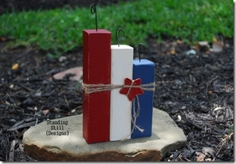 Replace third one with another red block - ta da! Canada day decor!