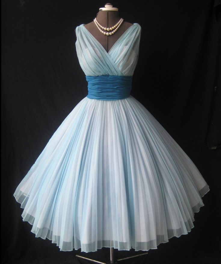 Light blue and white old fashioned dress