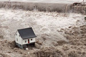 Chicoutimi. The one house that survived the great flood in the Saguenay region in 1996