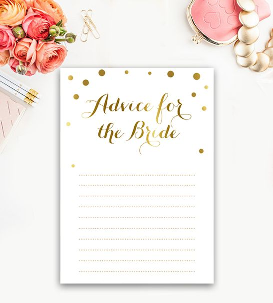 Bridal Shower Activity  Words of Advice for the Bride White Gold Confetti      Instant Download Printable