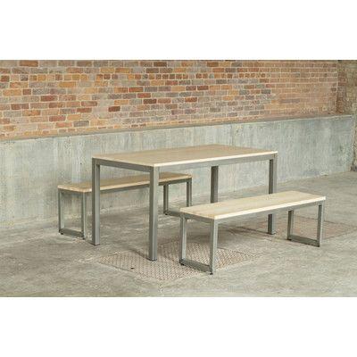 elan furniture loft 3 piece dining set frame finish warehouse metal top finish