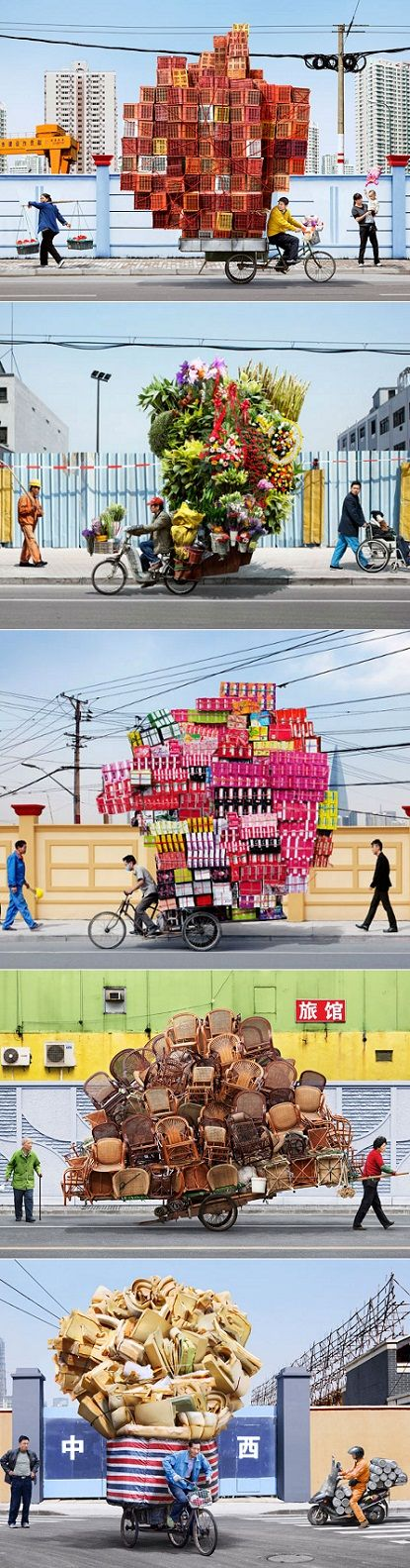 exPress-o: Shanghai's Bike Couriers. Photos by Alain Delorme. Impressive stacking skills by the bike couriers. Unusual sculptures of  typical goods are fascinating to see them balanced and kept in place while biking.