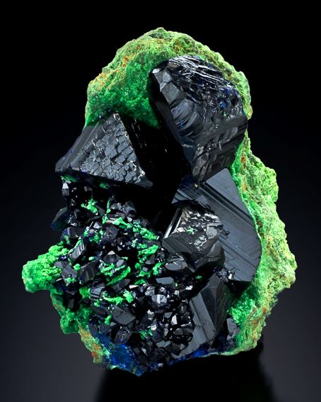 Midnight blue Azurite and neon green Arsentsumebite. Stunning glowing effect and what a contrast. From Tsumeb mine, Tsumeb, Otjikoto Region, Namibia