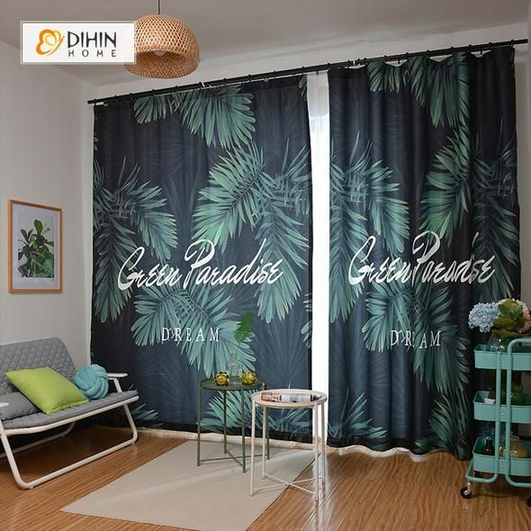 Dihin Home 3d Printed Dark Green Leaves Blackout Curtains Window