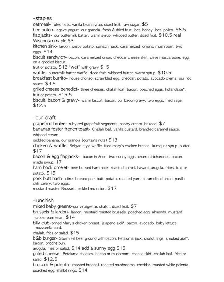 Sacramento Breakfast, Brunch and Lunch menu at bacon & butter restaurant