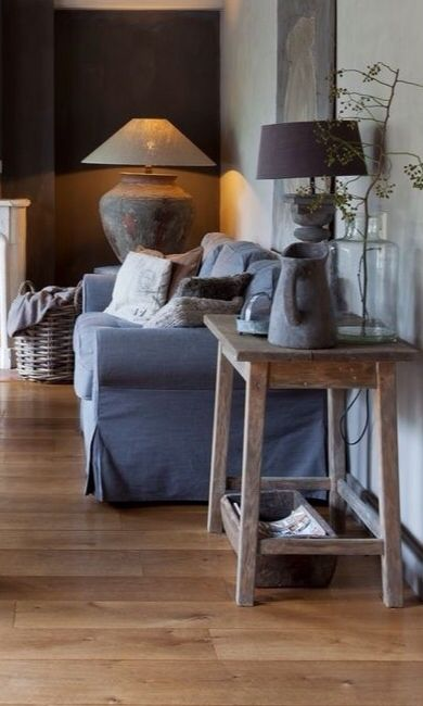 Colour & decor scheme - navy, stone grey, white/cream, raw woods, bare brick, rich texture (wool, knits, faux furs) LOVE!!!