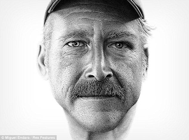 Lifelike: An astonishing portrait of Benjaman Kyle created by artist Miguel Endara with 2.1million ink dots      Incredible-ink-dot-paintings-realistic-look-just-like-camera-shots.