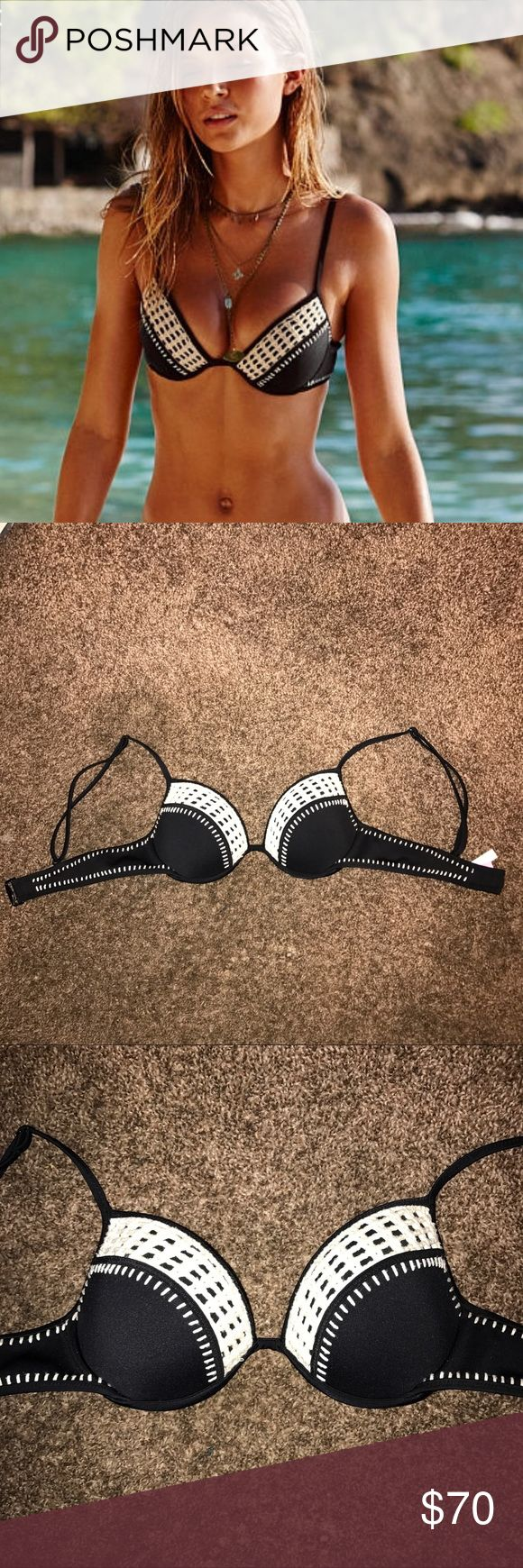 VS Swim Crochet Top Victoria's Secret Surf Bikini crochet top. Size 32 C! NEVER worn, unfortunately it doesn't fit me. Great buy, as the VS Swim line is being discontinued 💔. Reasonable offers accepted! Victoria's Secret Swim Bikinis