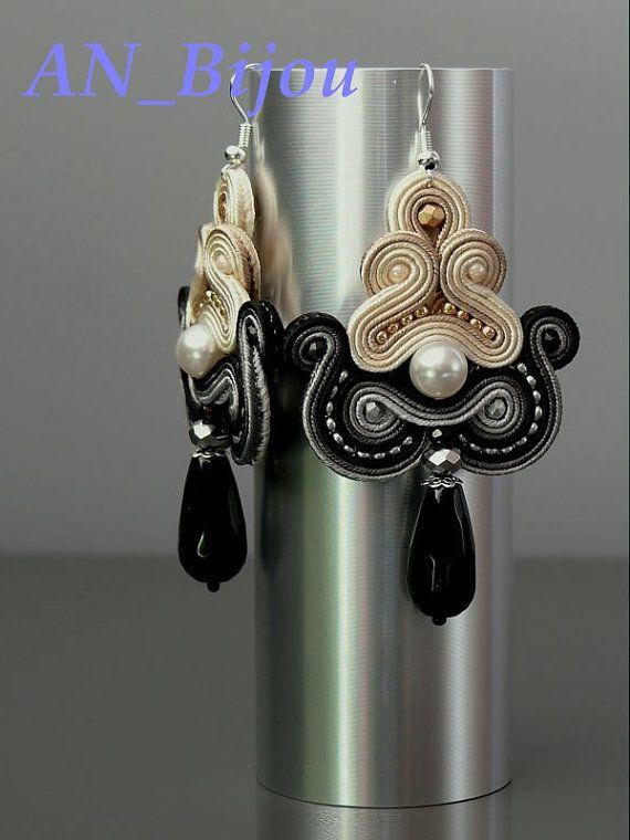 Soutache earrings Pearls with Onyx. от ANBijou на Etsy