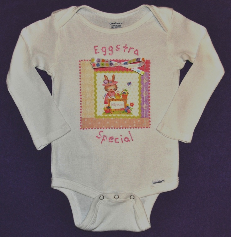 "Baby Girl Easter/Springtime ""Eggstra Special"" Onesie, Colorful with Decorative Ribbon Bow, Short/Long Sleeve.  Image of a springtime scene on fabric is bonded to a onesie, and pink fabric paint outlines the image. ""Eggstra Special"" is painted on with pink fabric paint. As an added touch, a decorative ribbon bow is firmly attached.  Available in many sizes.  Available in short sleeve and long sleeve.     https://www.etsy.com/listing/124746147/baby-girl-easterspringtime-eggstra"